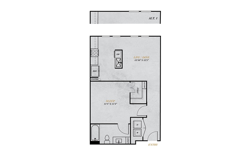 A1.1 - 1 bedroom floorplan layout with 1 bath and 636 square feet.