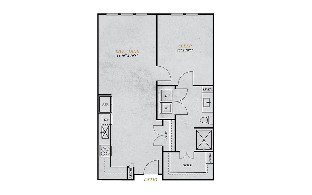 A2 - 1 bedroom floorplan layout with 1 bath and 688 square feet.