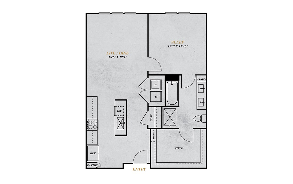 A4 - 1 bedroom floorplan layout with 1 bath and 778 square feet.