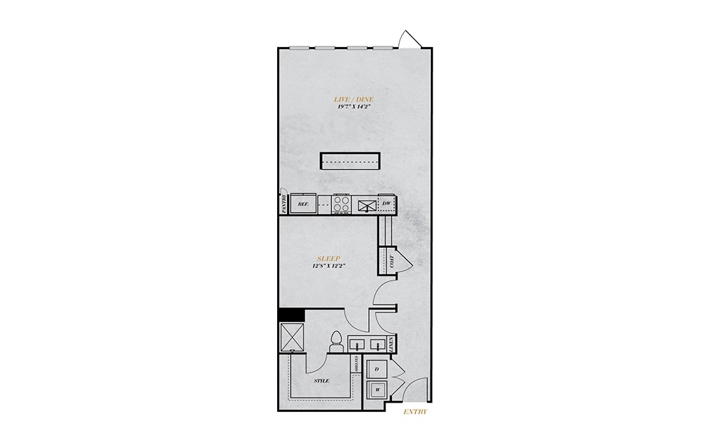 A5 - 1 bedroom floorplan layout with 1 bath and 973 square feet.