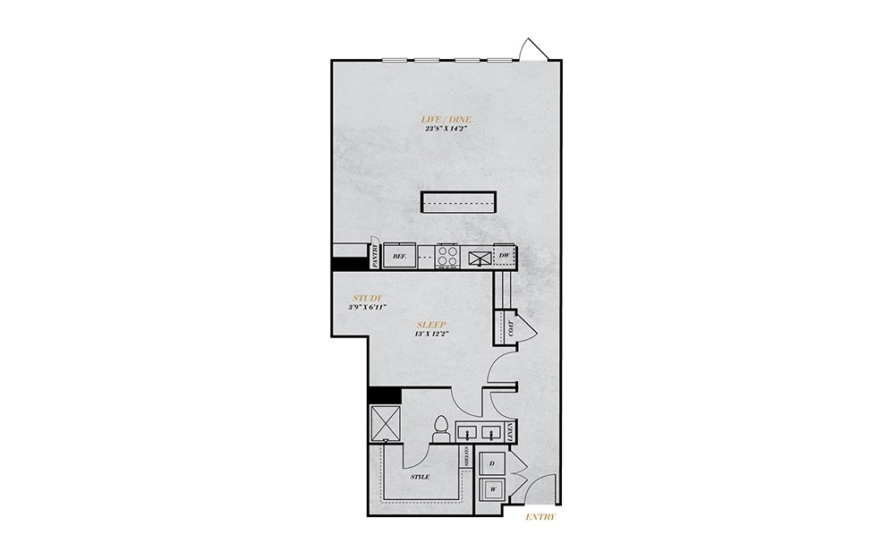 A5-Alt - 1 bedroom floorplan layout with 1 bath and 1081 square feet.