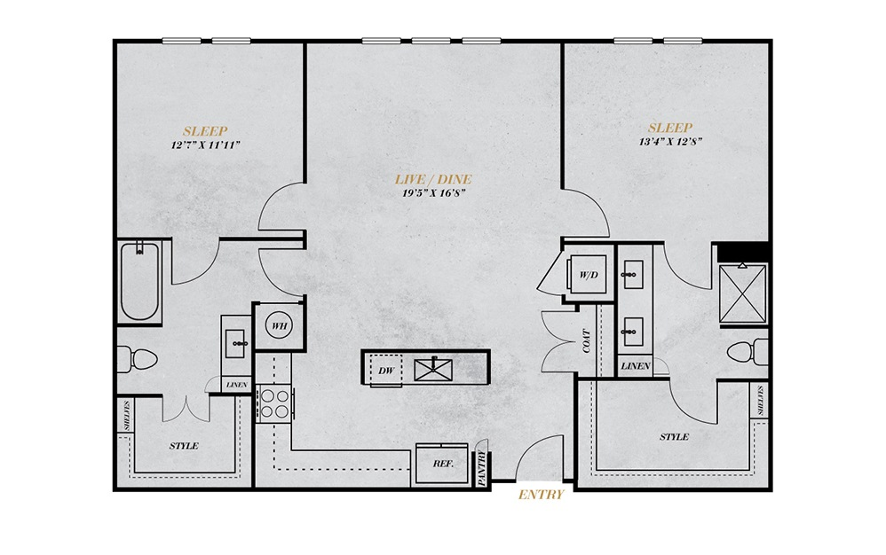 B5 - 2 bedroom floorplan layout with 2 baths and 1253 square feet.
