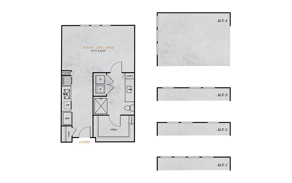S1 - Studio floorplan layout with 1 bath and 534 square feet.